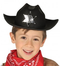 SOMBRERO SHERIFF NEGRO INFANTIL CON ESTRELLA