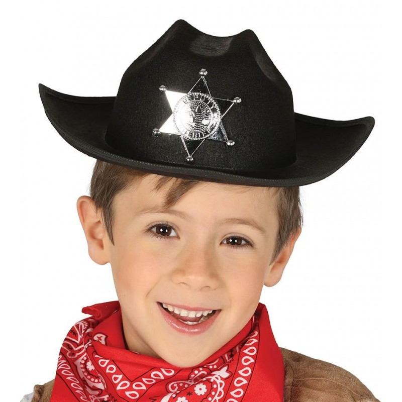 SOMBRERO SHERIFF NEGRO INFANTIL