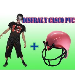 Disfraz Zombie Rugby + Casco Rosa