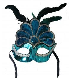 Antifaz Pluma Azul Veneciano