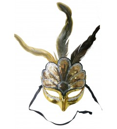 Antifaz Pluma Dorado Veneciano